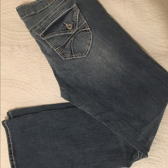 0f4486484dd Reign Women s Jeans Distressed Boot Cut Size 13